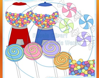 Candy and Gumballs Fun 1 Clipart (Digital Download)