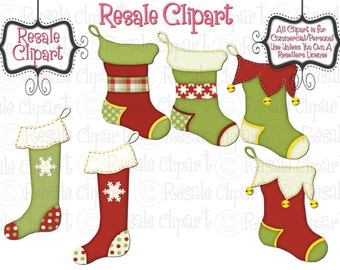Christmas Stockings 1 Clipart (Digital Download)