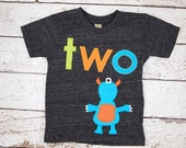 Monster Shirt Birthday Tee Monster Applique Organic Blend Black Tee