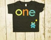 Monster Shirt Birthday Tee Monster Applique Organic Blend Black Tee