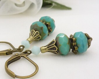 Teal and turquoise earrings in antique bronze, vintage style blue green czech glass dangle earrings