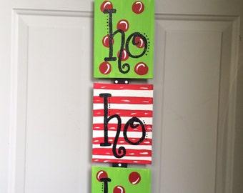 Ho Ho Ho Christmas Canvas Wall Hanging