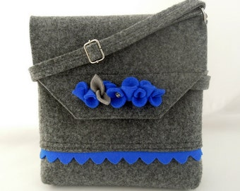 Lovely handmade fashionable small size felt bag felt purse felted wool handbag cross body with a flounce and flowers - Grey and Blue