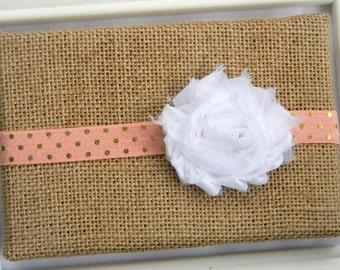 Baby Chiffon Headband, Baby Headband, Infant Headband, Peach Headband, Chiffon Flower Headband