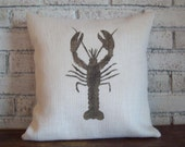 Lobster Pillow Cover - Nautical Pillow - Choose Your Size and Colors - Burlap Pillow Cover - Hand Painted - Coastal Pillow