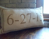 Custom Date Pillow Double Border Wedding Pillow Decorative Lumbar Pillow Anniversary Gift More Colors Available Personalized Burlap Pillow