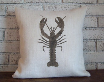Lobster Pillow Cover - Nautical Pillow - Choose Your Size and Colors - Burlap Pillow - Nantucket Decor - Coastal Pillow - Cape Cod Decor