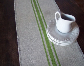 Farmhouse Table Runner, Sizes 10 x 48, 12 x 48, 14 x 48, Spring Green Stripes or Choice of Colors, Striped Runner, Farmhouse Home Decor