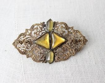 Vintage Filigree Yellow Topaz Brooch