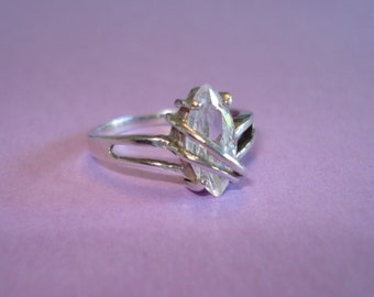 Vintage Sterling Silver Ring - DAVID SIGAL Clear Marquise Cut CZ ~ Size7.75 ~ 2.8 grams