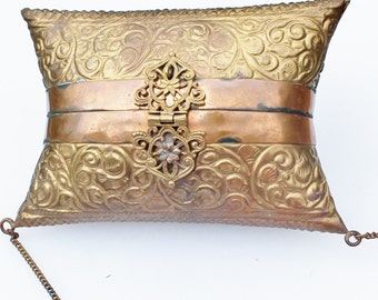 Vintage Brass and Copper Pillow Purse with Ornate Scroll Design