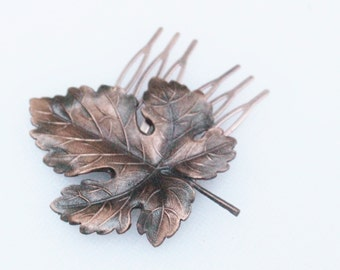 Vintage Copper Maple Leaf Hair Comb