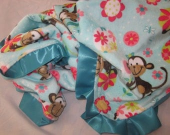 Aqua and Coral Monkey Minky Blanket- Ready to Ship