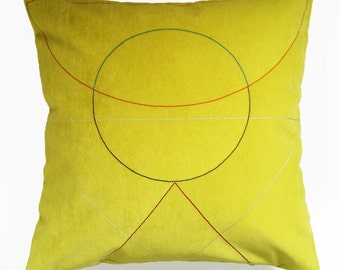 SALE Embroidered 'Outlines' cushion Yellow *Reduced further*
