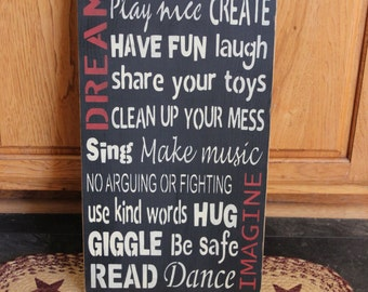 Personalized Playroom Rules -   wood subway sign 12 x 24 - your color choice
