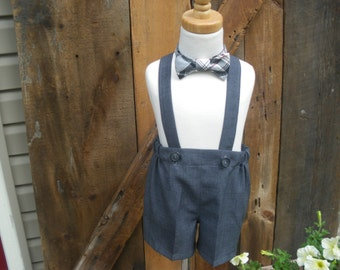 Boys gray shorts, boys suspender shorts, ring bearer shorts, charcoal gray,  available to order 12m,18m 2t, 3t 4t, 5t