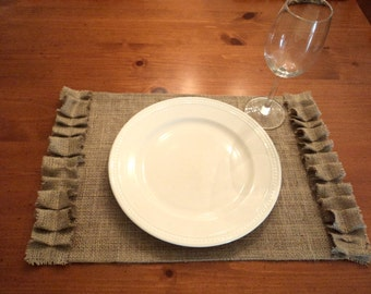 Set of 6 Burlap Placemats with Ruffles Rustic Table Settings