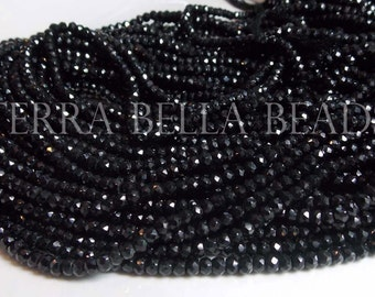 "Full 13"" strand black SPINEL faceted gem stone rondelle beads 4mm"