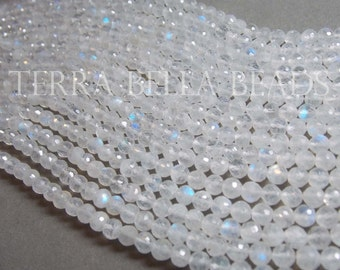 "Full 10"" strand RAINBOW MOONSTONE faceted gem stone ROUND rondelle beads 5mm"