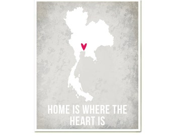 Thailand Home is Where the Heart is, Modern Art Print, World Travel Map I heart Asia, Thailand Flag Poster SALE buy 2 get 3