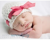 Custom Girl Bow Hat , Newborn Girl Photography Prop, White Bow Beanie with Custom Ribbon Color