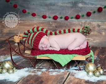 Red and Green Striped Sleepy Cap, Newborn Photography Prop, Elf Hat Newborn Christmas Hat
