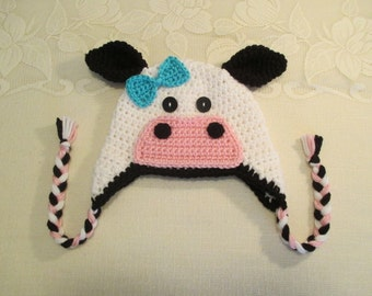 Crochet Cow or Bull Hat - Farm Animals - Photo Prop - Available in Any Size or Color Combination