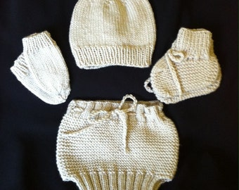 Newborn Baby Hand Knitted Set / (Hat, Mittens, Booties, Diaper Cover) / Babyshower Gift / Everyday Baby Wear