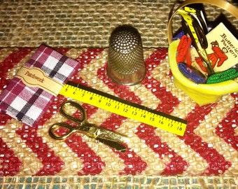 Canvas Mixed Media Art Sewing Notion Miniatures Thimble Scissors Fabric Chevron Burlap