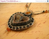 50% off ALL MST GO Bead Embroidered Necklace with Crazy Lace Agate Gemstone