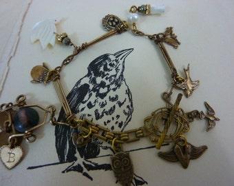 BIRDS OF a FEATHER  Bird Charm Watch Chain Vintage Assemblage Antique Bracelet