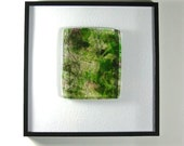 Art Glass Abstract Framed Picture Sculptural Slice of Spring