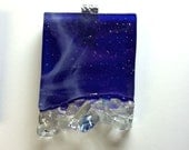 Art Glass Pendant Necklace Jewelry Blue Stargazing Artist Signed Collection