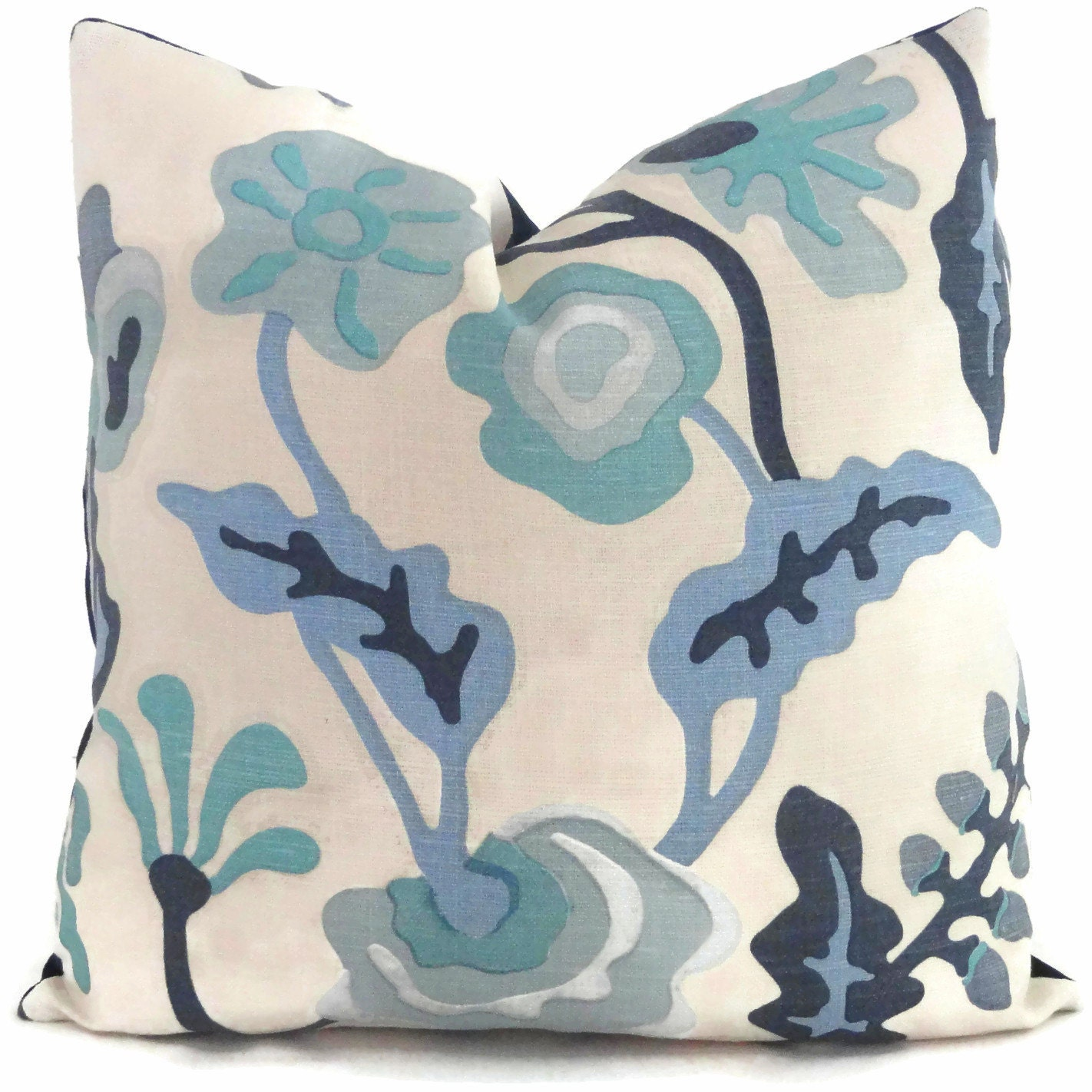 Queen Throw Pillows : Quadrille Decorative Pillow Cover Potalla Blue Floral Silk