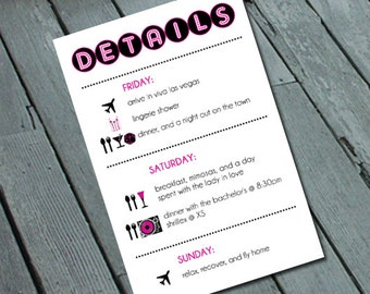 Cheers Bitches VEGAS BACHELORETTE Party Itinerary/Details Card Digital printable file/Printing Available Upon Request