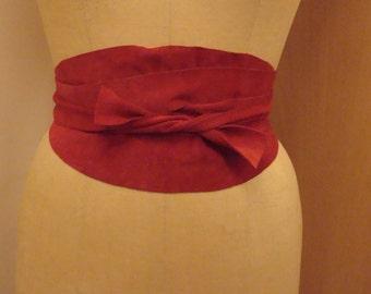 Red suede wrap belt