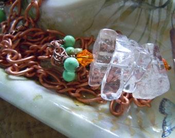 Stacked Quartz Turquoise Copper Necklace Statement Piece