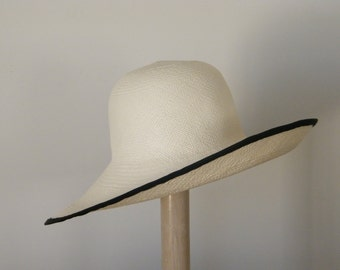 White Ivory panama hat,  long brim straw hat for women,  ladie's sun hat, UK,  Israel, Australia