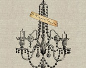 Antique Crystal Chandelier Instant Download Digital Image No.136 Iron-On Transfer to Fabric (burlap, linen) Paper Prints (cards, tags)