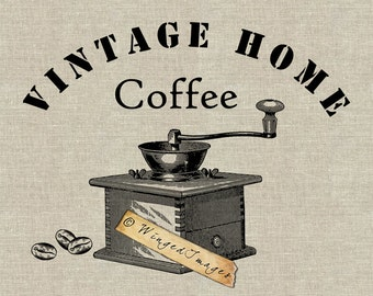 Vintage Coffee Grinder Instant Download Digital Image No.132  Iron-On Transfer to Fabric (burlap, linen) Paper Prints (cards, tags)