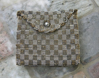 Antique French Steel Seed Coin Purse in Silver and Bronze