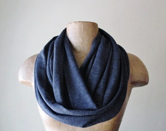 DENIM BLUE Infinity Scarf - Heather Blue Circle Scarf - Super Soft Loop Scarf - Jersey Tube Scarf