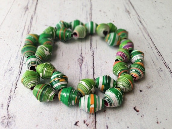 Eco Friendly Bracelet Handmade Green Paper Bead Bracelet Recycled Beads Jewelry