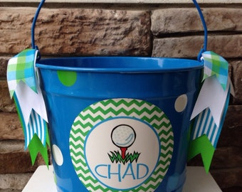 Golf Easter  Bucket/ Basket - 10 Quart
