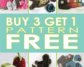 Buy 3 PATTERNS, Get 1 FREE, crochet pattern deal, crochet pattern combo, pattern sale, patterns for babies, combo pattern pack, PDF patterns