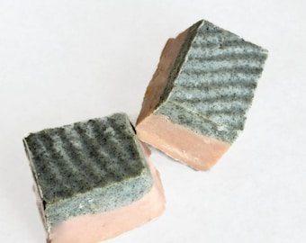 Black Sand  Exfoliating Shea Butter Soap , Skin smoother in Tropical Mango, Large Chunk