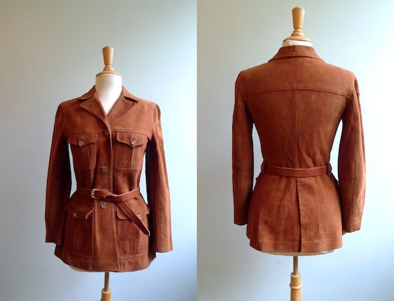 70 automnal sienna belted suede leather safari jacket S/M