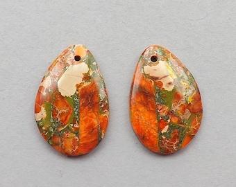 Orange Emperor Jasper gemstone Earring beads,6g, 30mmX20mm
