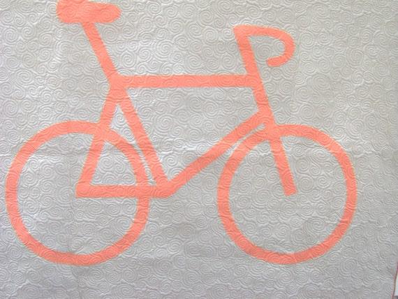 Quilt Tangerine/Orange Bicycle Modern Child Quilt