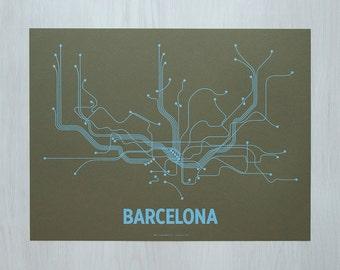 Barcelona Screen Print - Olive/Light Blue